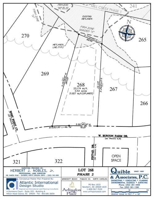 Arlington Place homesite 268 plat map.