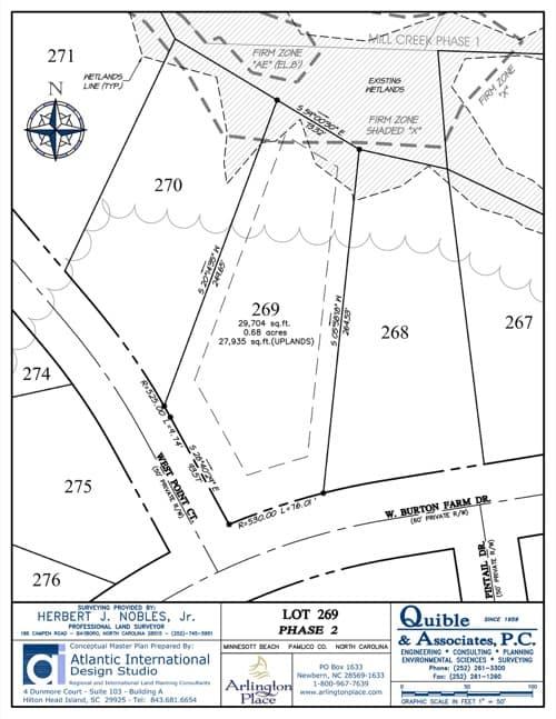 Arlington Place homesite 269 plat map.