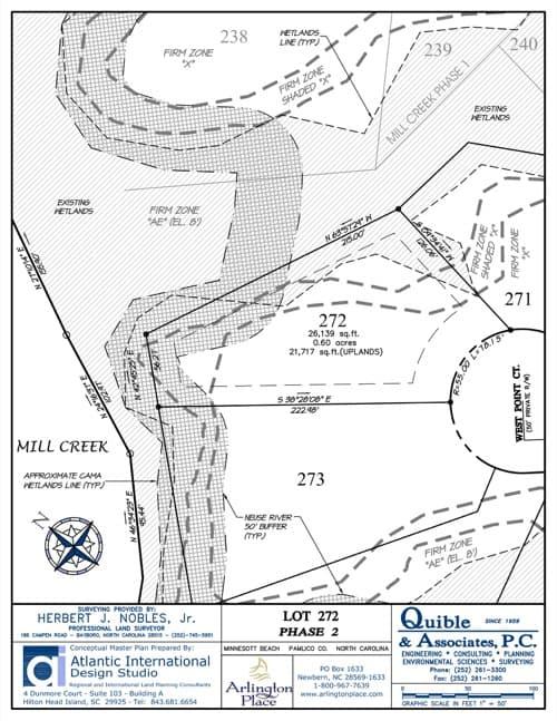Arlington Place homesite 272 plat map.