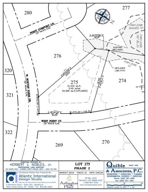 Arlington Place homesite 275 plat map.