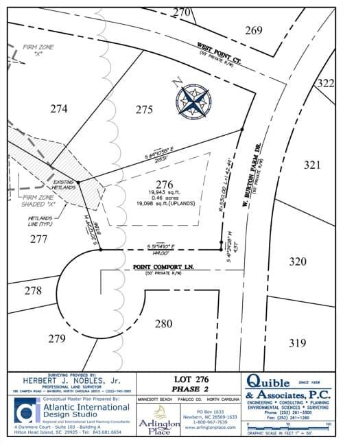 Arlington Place homesite 276 plat map.