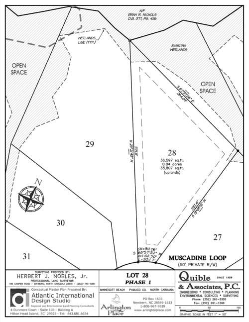 Arlington Place homesite 28 plat map.