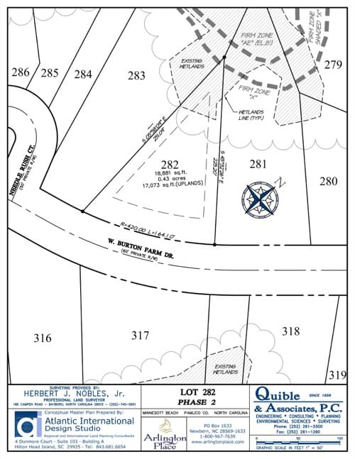 Arlington Place homesite 282 plat map.