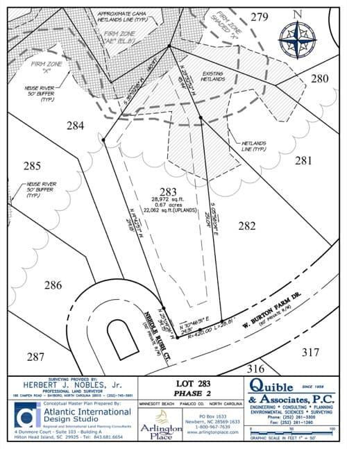 Arlington Place homesite 283 plat map.