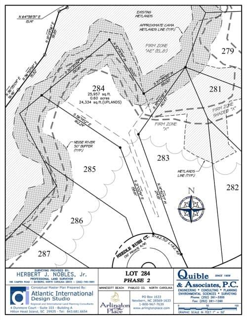 Arlington Place homesite 284 plat map.
