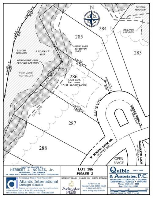 Arlington Place homesite 286 plat map.
