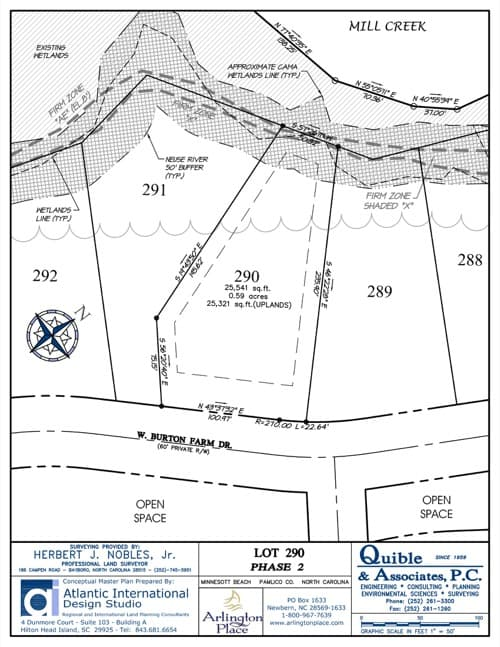 Arlington Place homesite 290 plat map.
