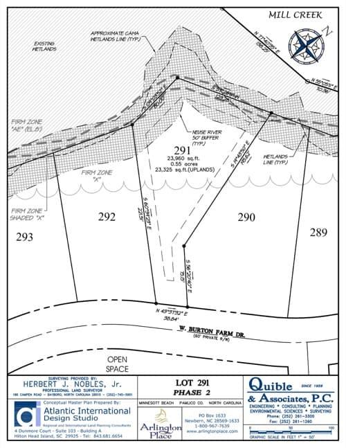 Arlington Place homesite 291 plat map.