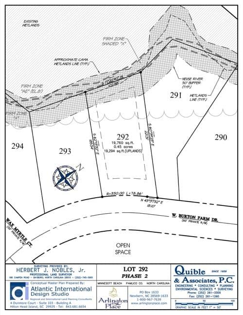 Arlington Place homesite 292 plat map.