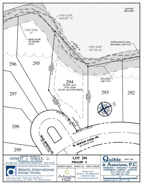 Arlington Place homesite 294 plat map.