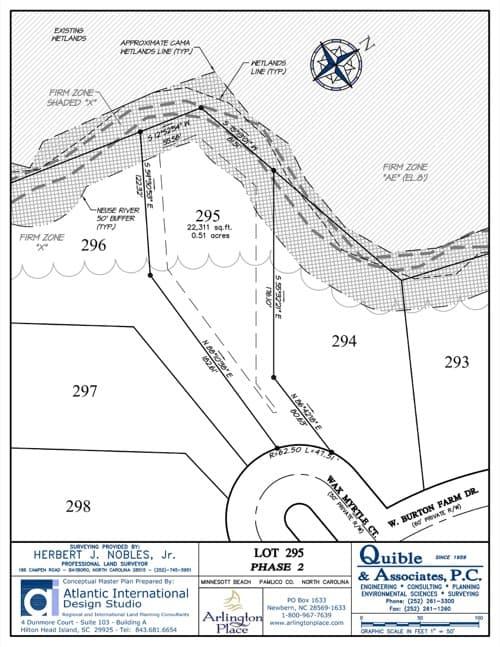 Arlington Place homesite 295 plat map.