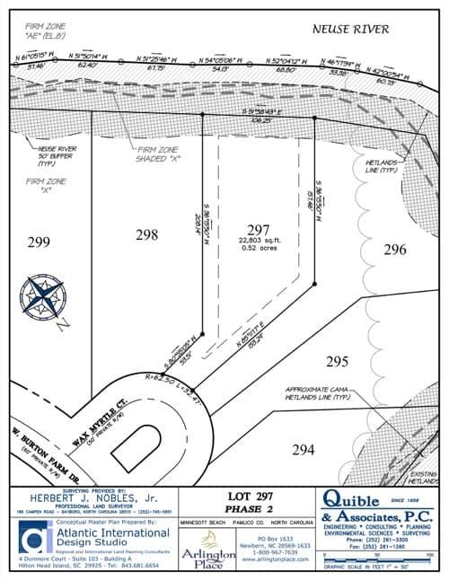 Arlington Place homesite 297 plat map.