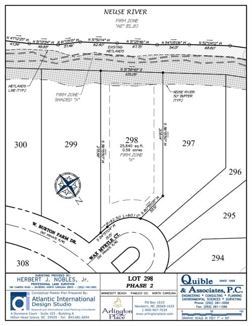 Arlington Place homesite 298 plat map.