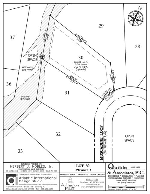 Arlington Place homesite 30 plat map.