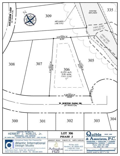Arlington Place homesite 306 plat map.