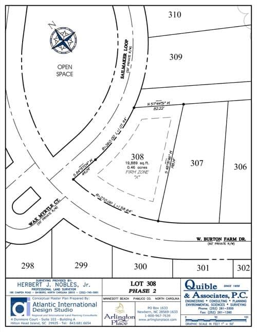 Arlington Place homesite 308 plat map.