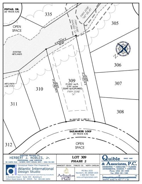 Arlington Place homesite 309 plat map.