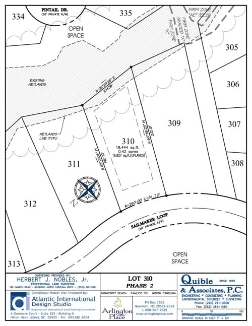 Arlington Place homesite 310 plat map.
