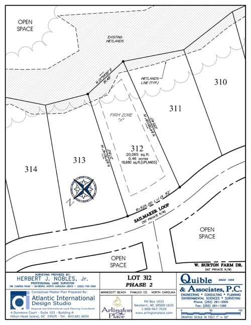 Arlington Place homesite 312 plat map.