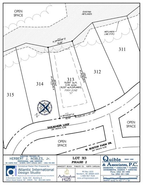 Arlington Place homesite 313 plat map.
