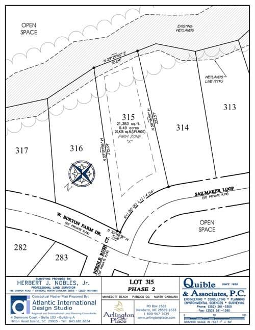 Arlington Place homesite 315 plat map.