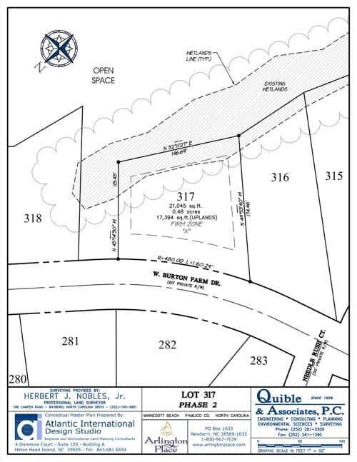 Arlington Place homesite 317 plat map.