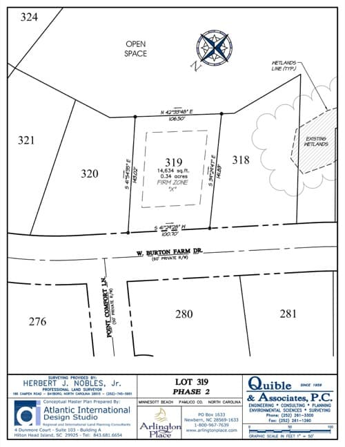 Arlington Place homesite 319 plat map.