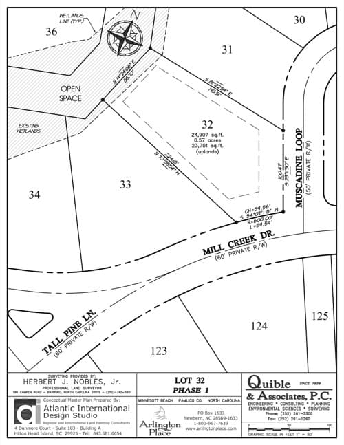 Arlington Place homesite 32 plat map.