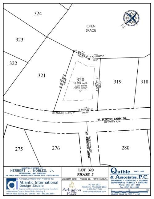 Arlington Place homesite 320 plat map.