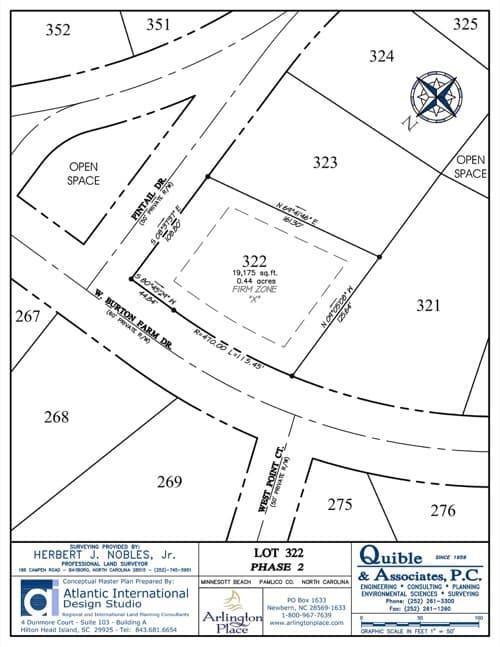 Arlington Place homesite 322 plat map.