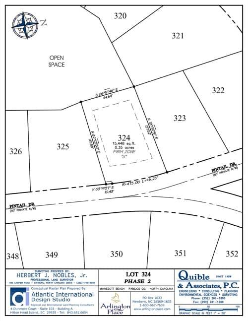 Arlington Place homesite 324 plat map.