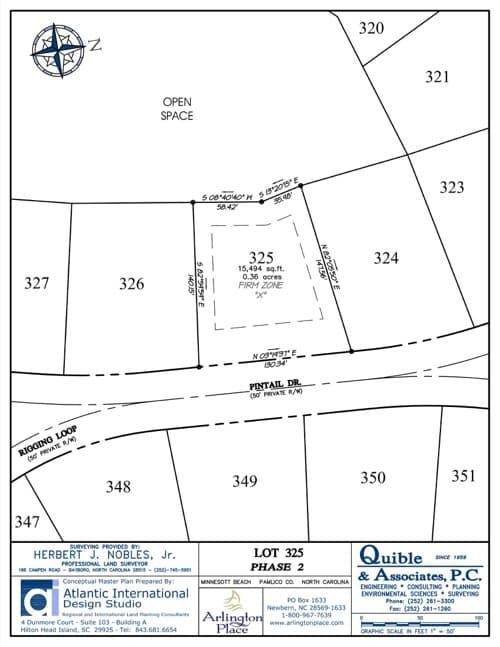 Arlington Place homesite 325 plat map.