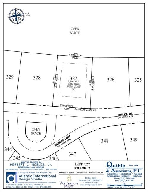 Arlington Place homesite 327 plat map.