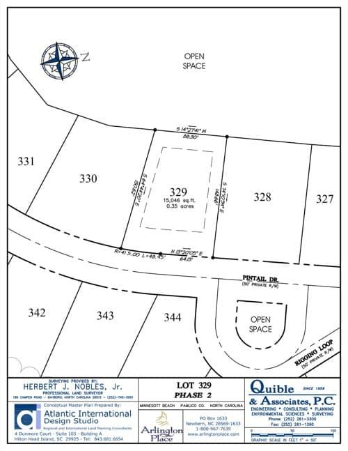 Arlington Place homesite 329 plat map.