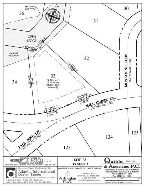 Arlington Place homesite 33 plat map.