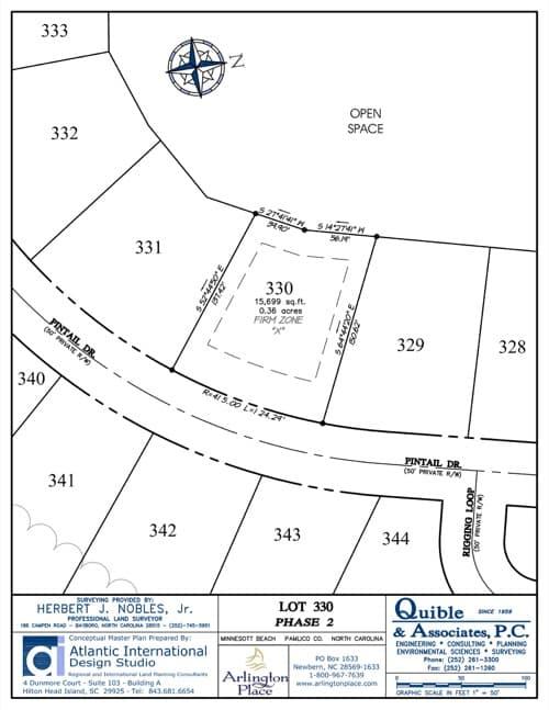 Arlington Place homesite 330 plat map.