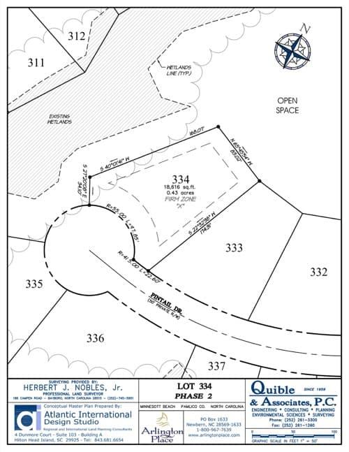 Arlington Place homesite 334 plat map.