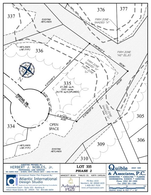 Arlington Place homesite 335 plat map.