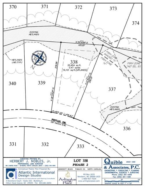 Arlington Place homesite 338 plat map.