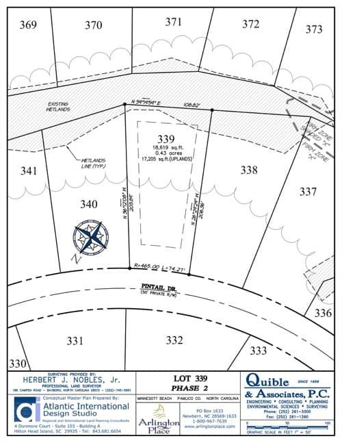 Arlington Place homesite 339 plat map.