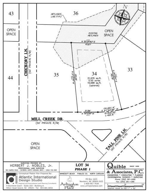 Arlington Place homesite 34 plat map.
