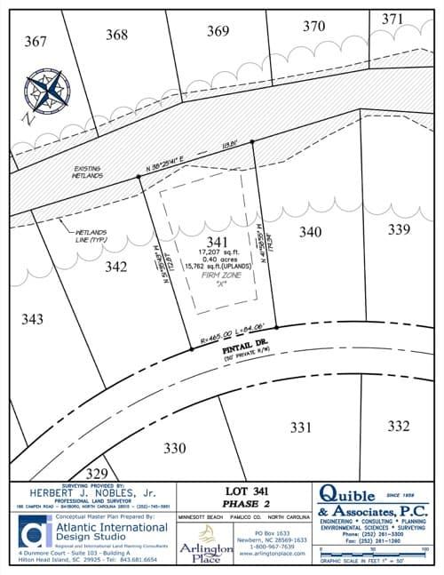 Arlington Place homesite 341 plat map.