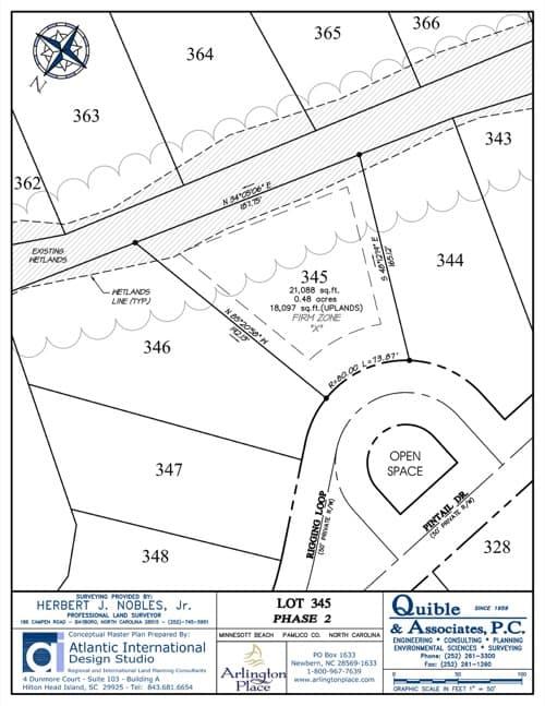 Arlington Place homesite 345 plat map.
