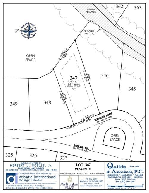 Arlington Place homesite 347 plat map.