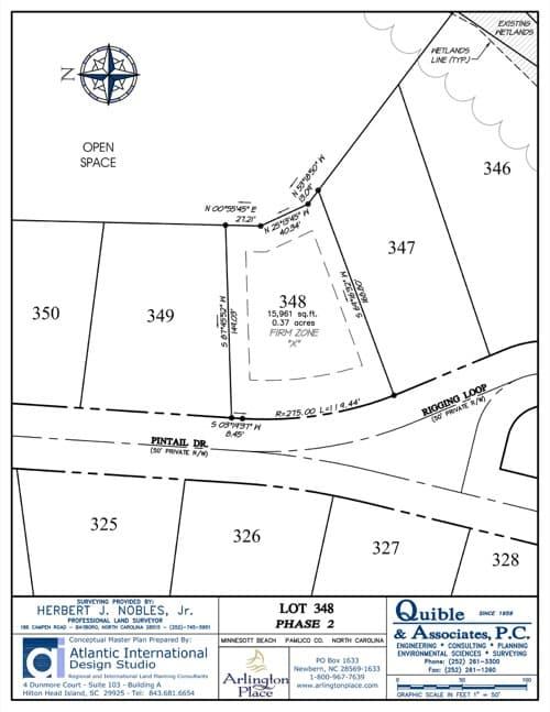 Arlington Place homesite 348 plat map.