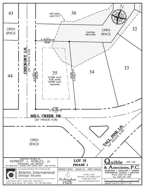 Arlington Place homesite 35 plat map.