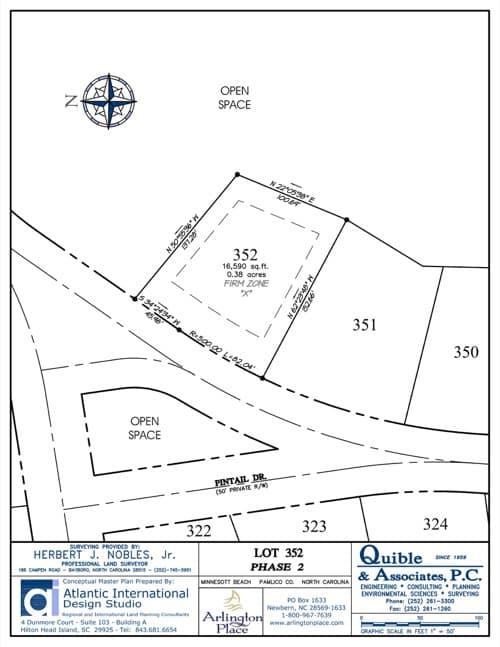 Arlington Place homesite 352 plat map.