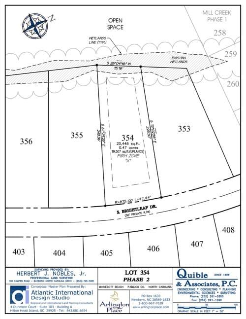 Arlington Place homesite 354 plat map.