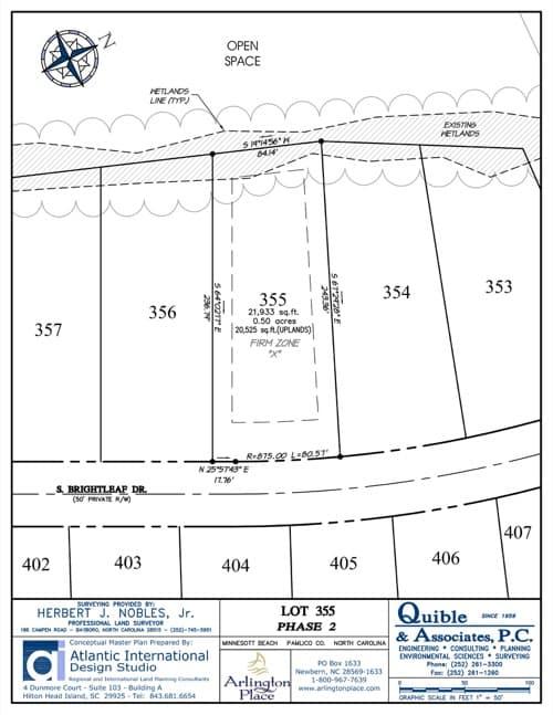 Arlington Place homesite 355 plat map.