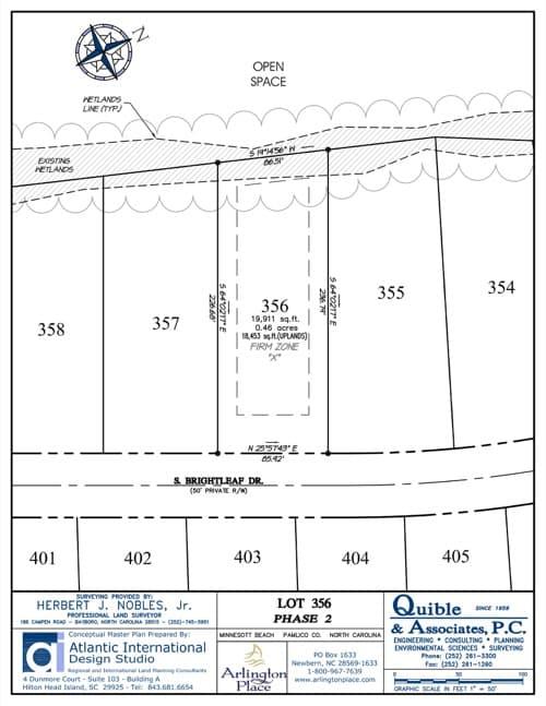Arlington Place homesite 356 plat map.